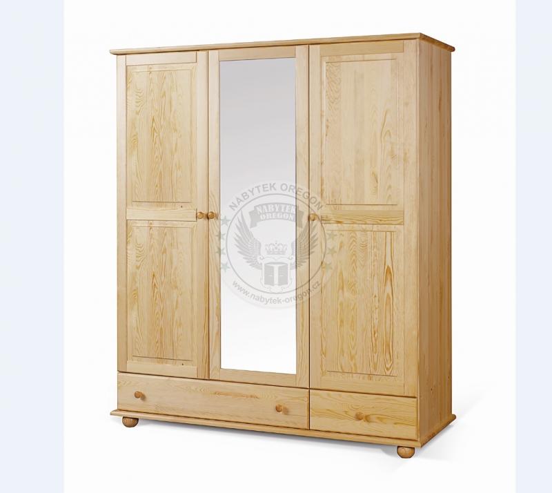 Skříně a skříňky - Šatní skříň z masivu se zrcadlem